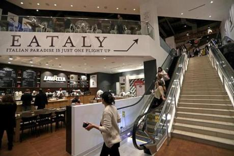 Boston, MA - 11/29/2016 - A staircase and escalators take customers from the Boylston street entrance to Eataly on the main level. - (Barry Chin/Globe Staff), Section: National, Reporter: Dugan Arnett, Topic: 30live eataly, LOID: 8.3.805353296.