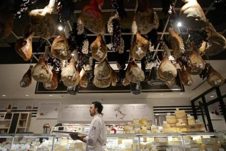 Boston, MA - 11/29/16 - Staff prepares for the day at Salumi E Formaggi at Eataly food court and grocery store in the Prudential Center. (Lane Turner/Globe Staff) Reporter: (Duggan Arnett) Topic: (live_eataly_photos)