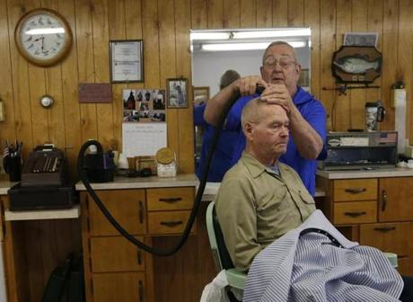 Barber Shop Bangor : Barber Dwight Helstrom gave Willis Brown a haircut inside his Presque ...