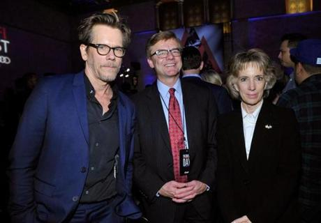 "Actor Kevin Bacon, FBI agent Richard DesLauriers, and Anne Graham at the AFI Closing Night Screening of ""Patriot's Day"" at TCL Chinese Theatre on Nov. 17"