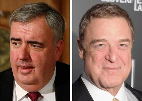Former Boston Police Commissioner Ed Davis, left, and actor John Goodman.
