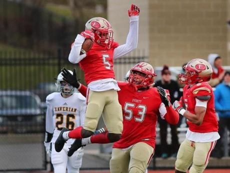 Lynn-12/03/2016- Division 1 Superbowl- Everett vs Xaverian - Everett's Mike Sainristil celebrates his 1st qtr touchdown. John Tlumacki/Globe Staff (sports)