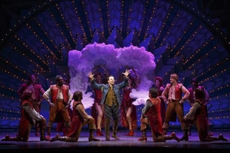 "Rob McClure (center) and the cast of ""Something Rotten!"""
