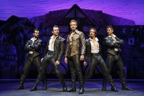 "Adam Pascal (center) with Ryan VenDenBoom, Max Clayton, Eric Sciotto, and Aleks Pevek (left to right) in ""Something Rotten!"""