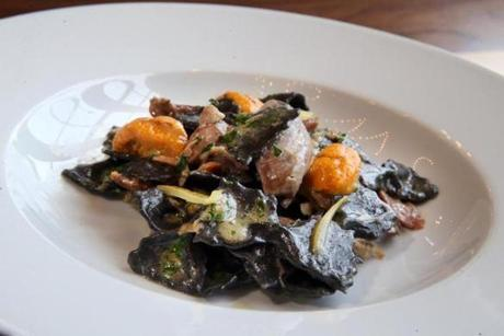 Squid ink farfalle with pheasant