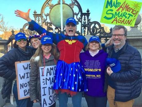 Michael Petty wore a Wonder Woman costume to the Boston rally.