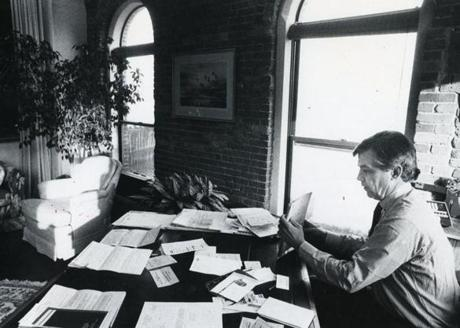Hostetter at work in his Lewis Wharf office in 1981. He retains an office there to this day.