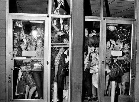 FOR MAGAZINE USE ONLY. DO NOT USE BEFORE 2/19 ===== 1967- Boston Red Sox Impossible Dream Season- Frank O'Brien/ Globe Staff Ecstatic fans await the team's return at Logan Airport after the Sox' Game 5 win.