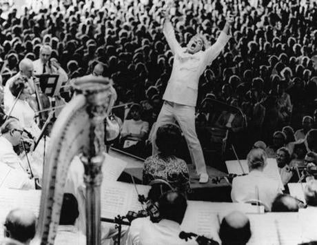 Lenox, MA: Leonard Bernstein at the climax of Mahler's