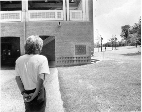 Seiji Ozawa in a moment of reflection, in front of Seiji Ozawa Hall at Tanglewood, 1994 Photo credit: Walter H. Scott --- 17twoodmain