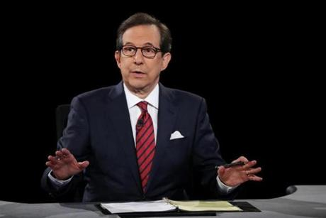 "Chris Wallace on President Trump's comments: ""When he said that the fake news media is not my enemy, it's the enemy of the American people, I believe that crosses an important line.'' Above: Wallace moderated a debate between Trump and opponent Hillary Clinton in October."