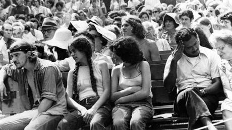 Lenox, MA - 7/16/1972: Diversity marks the crowd at Tanglewood for a performance of Beethoven at the Berkshire Festival, July 16, 1972. (Jack Sheahan/Globe Staff) --- BGPA Reference: 170216_EF_010