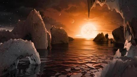 This illustration shows the possible surface of TRAPPIST-1f, one of the newly discovered planets in the TRAPPIST-1 system