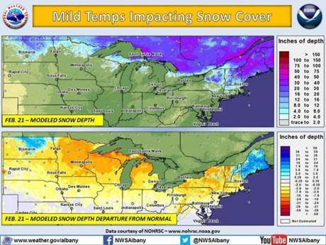 Snow is averaging over a foot less than normal in parts of Michigan and Wisconsin.