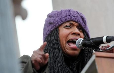 Boston City Councilor at Large Ayanna Pressley was among those who addressed the crowd.