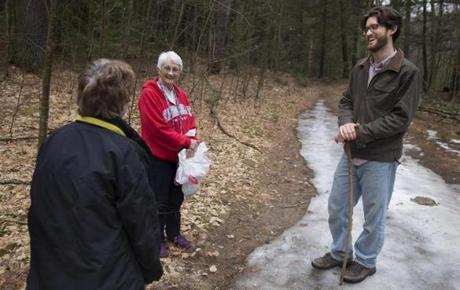 Andrew Forsthoefel talks with a few other hikers on a recent outing in Northampton.