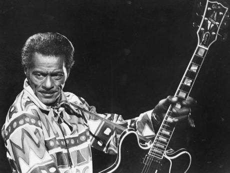 Chuck Berry during a performance at the Boston Opera House in 1985.