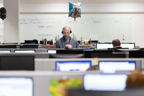 Bangor, ME, United States -- Matt Pulley (cq) a sales and service consultant, works at a Wayfair call center in Bangor, ME on Friday, March 24, 2017. Maine has seen an increase in call centers throughout the state. (Yoon S. Byun for the Boston Globe) Slug: 28callcenters Reporter: LOID: 8.3.1986096335