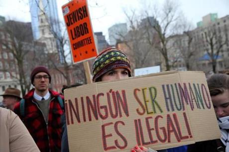 Boston, MA- April 05, 2017: Libby Mooers of the Community Legal Services & Counseling Center attended the immigration rally on the Boston Common during the 21st annual Immigrants' Day at the Massachusetts State House in Boston, MA on April 05, 2017. More than 1,000 people were expected to visit Beacon Hill over the course of the day, celebrating the contributions of Massachusetts' 1 million foreign-born people to the state's economy, culture and civic life, and to advocate for legislation and budget items that are priorities for our foreign-born residents. (Globe staff photo / Craig F. Walker) section: sport reporter: