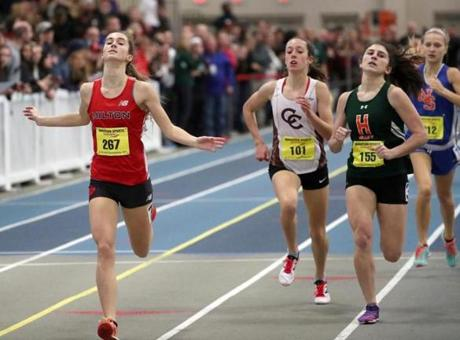 Colette O'Leary won the 1,000 meters at the MIAA All-State indoor track meet.