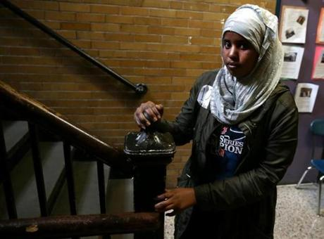 "Boston MA 04/28/2017 Sowda Roble (cq) was one of the immigrant students at ""Know Your Rights Day"" at Boston International High School. She came to the U.S. from a refugee camp in Kenya. Globe Staff\Photograph Jonathan Wiggs Reporter:Topic"