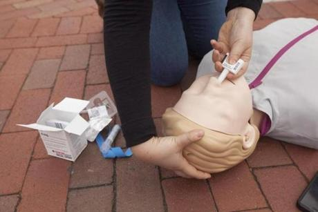 A dummy used to simulate treatment for overdoses, in Cambridge, Mass., April 29, 2017. Cambridge could soon become the first city in the country to give the public easy access to Narcan, a medication that can rapidly revive victims of opioid overdoses, via a series of street-corner lockboxes that could be used in emergencies. (Erik Jacobs/The New York Times)