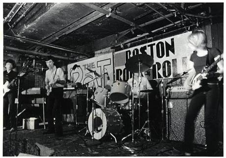Talking Heads, including former Modern Lovers keyboardist Jerry Harrison at far left, play the Rat.