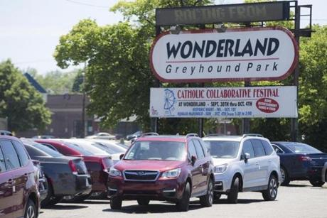 Revere, MA - 6/7/2017 - Cars sit parked in the lot of the shuttered Wonderland Greyhound Park in Revere, MA, June 7, 2017. (Keith Bedford/Globe Staff)