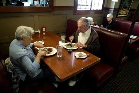 Priscilla Sheldon of Reading and her husband, Edward, dined at Jimmy's Steer House in Arlington. The Sheldons have had lunch at the restaurant every Friday for 12 years.