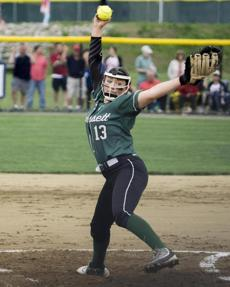 Wachusett pitcher Liv Strasser (13) rears back for a pitch against Milford.