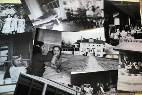 A collection of photographs of the former use of the buiding as a tuberculosis hospital.