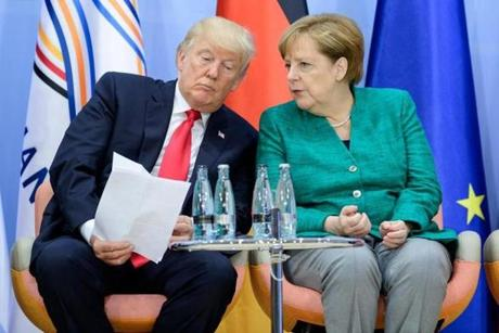 Trump and German Chancellor Angela Merkel attended a panel discussion at the G-20 summit on Saturday.