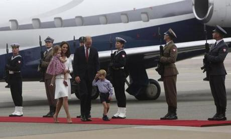 The Duke and Duchess of Cambridge and their children arrived in Poland.