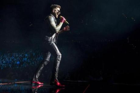 Boston, MA - 7/25/17 - Tuesday night during the Queen and Adam Lambert team-up performance at TD Garden on Tuesday, July 25, 2017. The trio first performed together on American Idol in 2009 and began touring in 2014. (Nicholas Pfosi for The Boston Globe) Topic: 27Queen Guitarist Brian May, drummer Roger Taylor, and singer Adam Lambert.