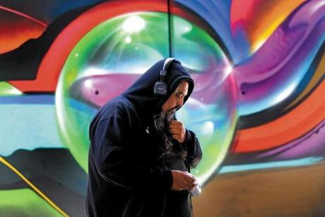 "BOSTON, MA - 9/07/2017: Artist Vyal Reyes (cq) an artist from LA Calif works on his mural at ""Ink Underground,"" a park being designed under the Southeast Expressway in the South End ) SECTION: BUSINESS TOPIC 08underpass"