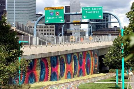 "BOSTON, MA - 9/07/2017: Artwork at ""Ink Underground,"" a park being designed under the Southeast Expressway in the South End () SECTION: BUSINESS TOPIC 08underpass"