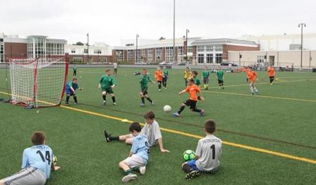 The school has two turf fields at the rear of the complex. They are used by youth soccer leagues.