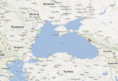 Sochi, marked in red on the eastern short of the Black Sea, is near Russia's border with Georgia.
