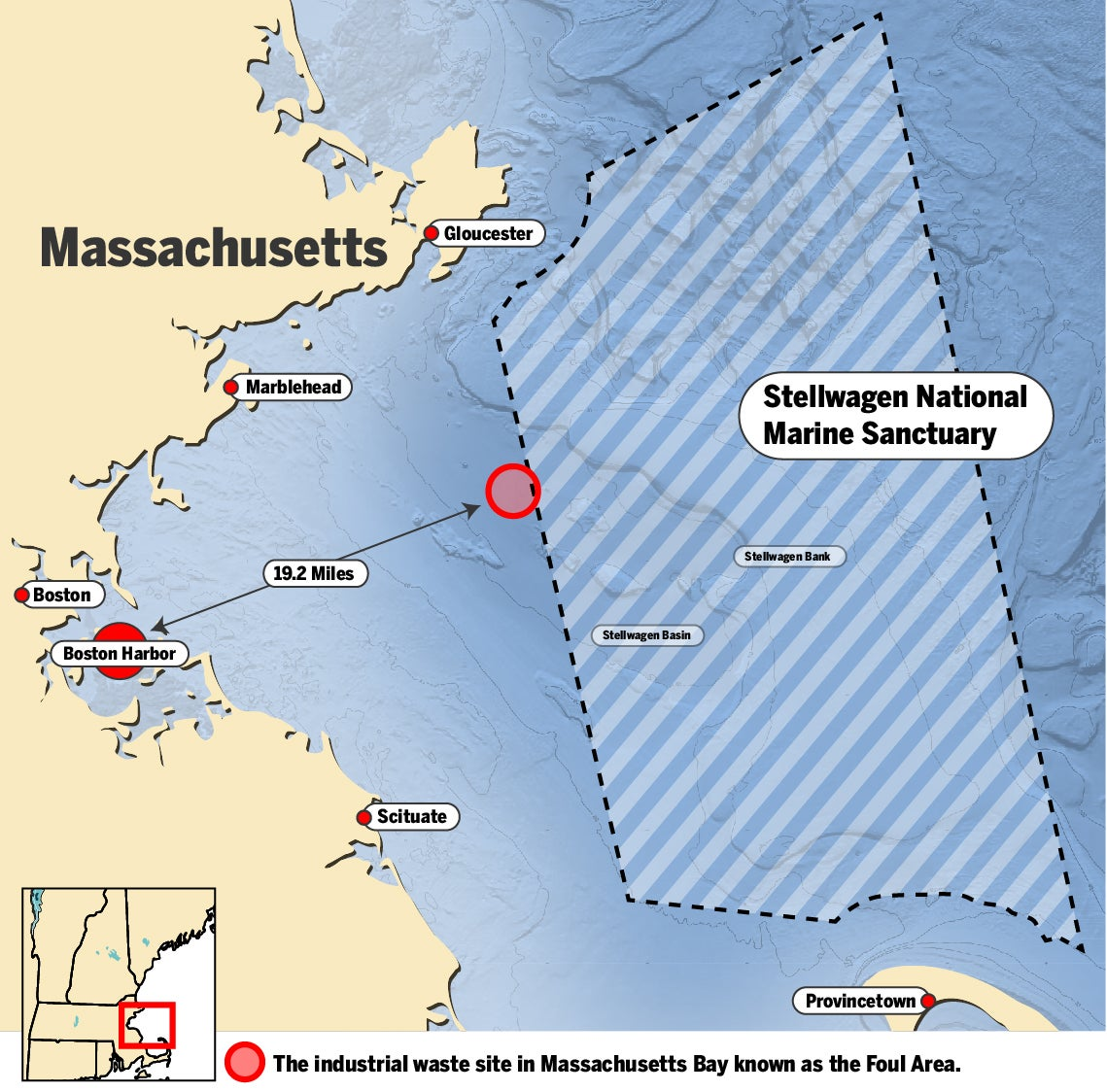 Location of the industrial waste site in Massachusetts Bay Source: New England District U.S. Army Corps of Engineers