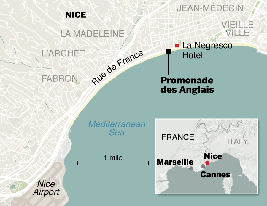 Map How the Nice attack unfolded The Boston Globe